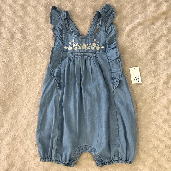 1496c88ff326 Baby Gap Chambray Romper Floral Embroidery